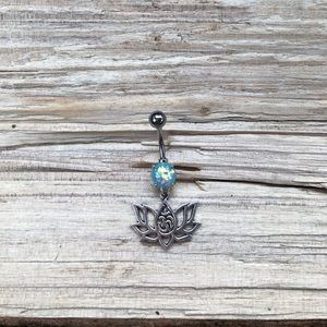 Blue Opal Om Lotus Belly Button Ring